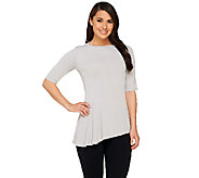 George Simonton Elbow Sleeve Milky Knit Top with Side Drape Detail - A262226