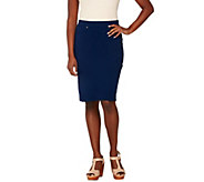 Susan Graver Weekend French Knit Pull-On Skirt - A263026