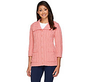 Aran Craft Merino Wool Irish Spring 3/4 Sleeve Cardigan - A264126