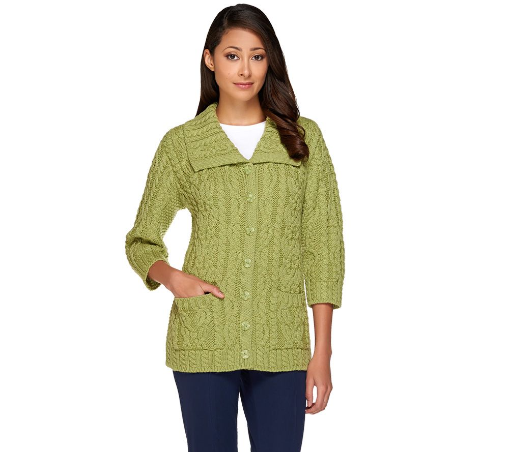 Aran Craft Merino Wool Irish Spring 3/4 Sleeve Cardigan - Page 1 ...