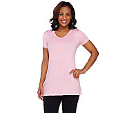 LOGO Layers by Lori Goldstein V-neck Short Sleeve Knit Top - A264426