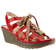 FLY London Multi-strap Lace-up Wedge Sandals - Yito - A266426