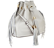 G.I.L.I. Pebble Leather Drawstring Bag with Fringe - A266526
