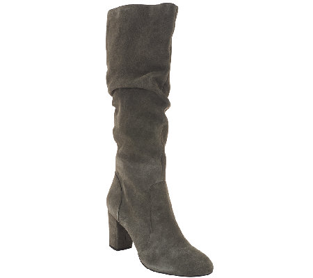 H by Halston Tall Shaft Suede Boots with Heel - Sarah