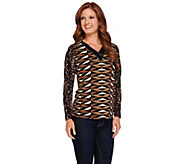 Susan Graver Artisan Printed Liquid Knit V-Neck Embellished Top - A270326
