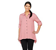 As Is LOGO by Lori Goldstein Button Down Twill Top with Point Collar - A271026
