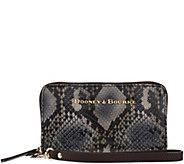 Dooney & Bourke City Python Leather Zip Around Phone Wristlet - A272226