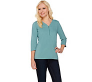 Denim & Co. Solid Jersey 3/4 Sleeve V-neck Zip Front Top - A274326