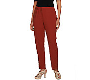 As Is Susan Graver Chelsea Stretch Comfort Waist Zip Front Ankle Pants - A275126