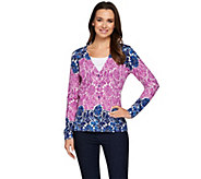 Isaac Mizrahi Live! Engineered Damask Printed Cardigan - A275426
