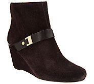 As Is Isaac Mizrahi Live! Suede Wedge Ankle Boots w/ Strap Detail - A275626