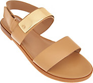 H by Halston Slingback Leather Flat Sandals - Haily - A276526