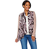 LOGO by Lori Goldstein Printed Jacket with Faux Suede Sleeves - A276826
