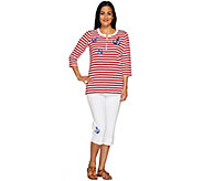 As Is Quacker Factory Summer Fun Stripe Pullover and Capri Pant Set - A278126