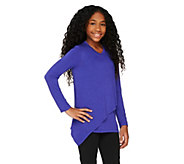 As Is LOGO Littles by Lori Goldstein Knit Top with Front Overlay - A278826
