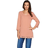 Isaac Mizrahi Live! 3/4 Sleeve Knit Tunic with Lace Hem - A279026