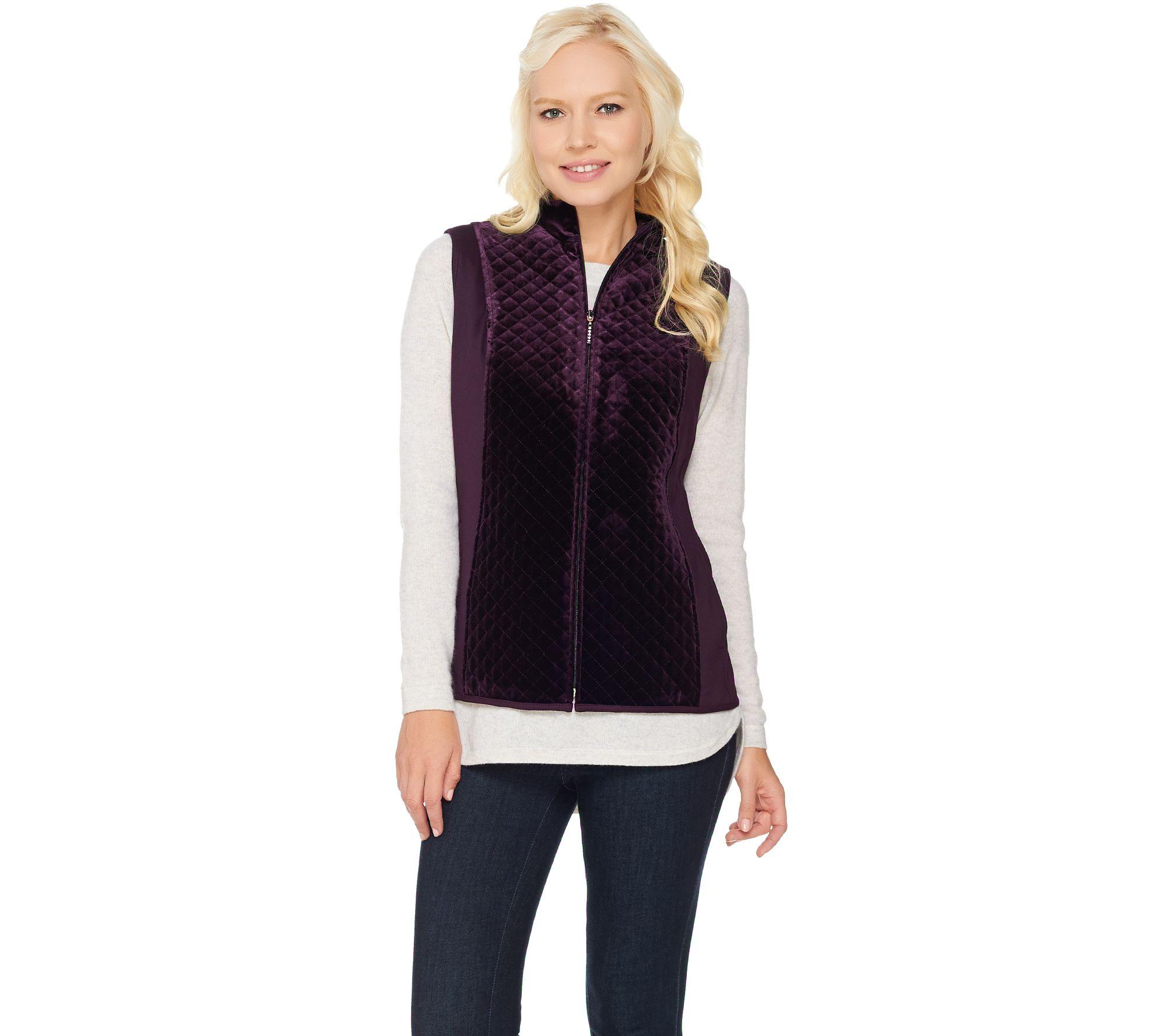 Susan Graver Quilted Velvet Zip Front Vest - Page 1 — QVC.com : quilted zip front vest - Adamdwight.com