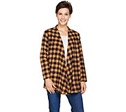 Joan Rivers Draped Front Buffalo Check Cardigan - A283726