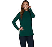 Denim & Co. Essentials Rib Mock Neck Long Sleeve Top - A284526