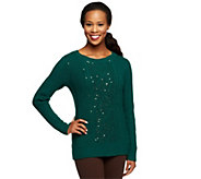 As Is Kelly by Clinton Kelly Cable Sweater w/ Sequin Detail - A285926
