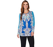 Susan Graver Printed Liquid Knit Tunic with Keyhole - A286726