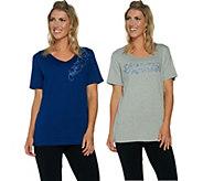 Quacker Factory Set of 2 Floral Vines Short Sleeve T-shirts - A290926