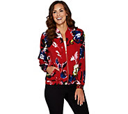 Susan Graver Printed Stretch Woven Bomber Jacket - A293626