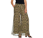 Du Jour Regular Printed Wide Leg Pants with Pockets - A293726