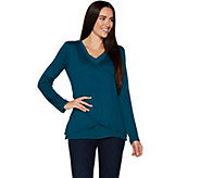 Kelly by Clinton Kelly Faux Wrap Top  w/ Woven Detail - A297926