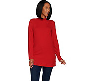 Denim & Co. Essentials Ribbed Knit Long Sleeve Mock Neck Tunic - A299226