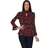 Susan Graver Printed Liquid Knit Mock Neck Top with Keyhole - A300526