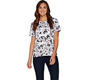 Denim & Co. Perfect Jersey Short Sleeve Floral Print Round Neck Top - A300826