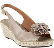 As Is Clarks Artisan Leather Peep-toe Espadrilles- Petrina Bianca - A301826