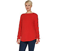 Susan Graver Weekend French Terry Tunic with Lacing Detail - A302626