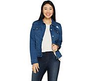 Martha Stewart Distressed Denim Button Front Jean Jacket - A303226