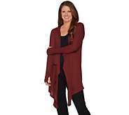 As Is AnyBody Loungewear Brushed Hacci Hooded Cascade Cardi - A307326