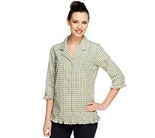 Denim & Co. Seersucker Gingham 3/4 Sleeve Ruffle Women's Shirt