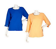 Quacker Factory Set of 2 3/4 Sleeve Sequin Trimmed T-shirts - A201227