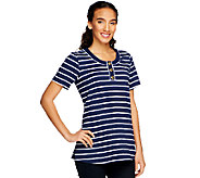 Denim & Co. Perfect Jersey Short Sleeve Striped Henley Tunic - A214527