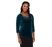 Susan Graver Stretch Velvet U-neck Top with Ruched 3/4 Sleeves - A218027