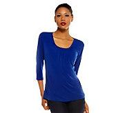Susan Graver Essentials Liquid Knit 3/4 Sleeve Top with Shirring - A220427