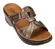Clarks Bendables Lexi Empress Leather T-Strap Slides - A220827