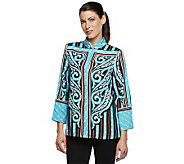 Bob Mackies Placement Print Mandarin Collar Blouse with Button Front - A222627