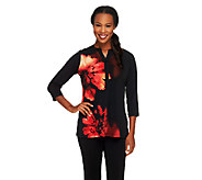 Susan Graver Placement Print Liquid Knit Top with 3/4 Sleeves - A229127
