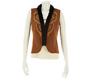 Bob Mackies Embroidered Fleece Vest Faux Fur Trim - A229727
