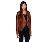 G.I.L.I. Pieced Leather Jacket with Ribbed Arm Panel - A237627