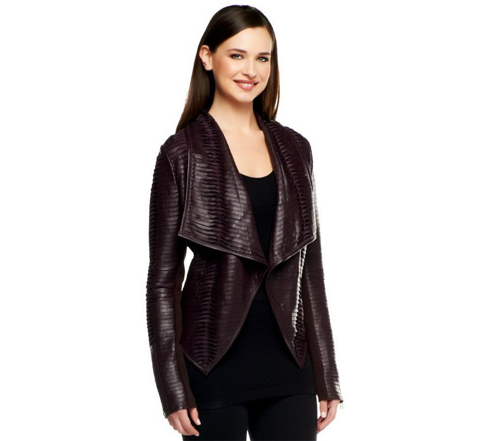 Leather jacket olx - G I L I Pieced Leather Jacket With Ribbed Arm Panel Page 1 Qvc Com