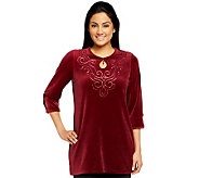 Quacker Factory Velour Tunic with Keyhole and Sequin Scroll - A238727