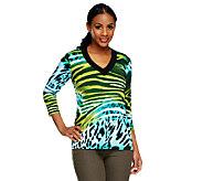 Susan Graver Liquid Knit Printed 3/4 Sleeve Top w/ Solid Neckline - A251327