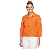 Denim & Co. Stretch Twill Cropped 3/4 Sleeve Jacket - A251727